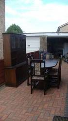 Solid Dark Wood table,  6 chairs and matchin display/storage wall unit