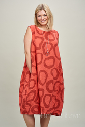 Stunning Italian Circle Print Long Sleeveless Dress